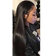 Naisten Synteettiset peruukit Lace Front Pitkä Suora Jet Black Luonnollinen hiusviiva Vauvantukalla Luonnollinen peruukki Rooliasu