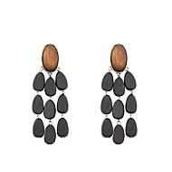 Dame Dråbeøreringe Smykker Bohemisk Mode Træ Legering Geometrisk form Smykker Sort Gave Daglig Kostume smykker