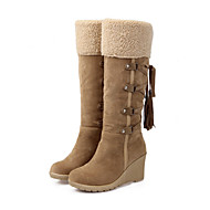 Women's Shoes PU Fall Winter Comfort Novelty Fashion Boots Boots Wedge Heel Round Toe Mid-Calf Boots Tassel For Office & Career Dress
