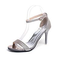 Χαμηλού Κόστους Prom Shoes-Γυναικεία Παπούτσια PU Άνοιξη / Καλοκαίρι Βασική Γόβα Σανδάλια Τακούνι Στιλέτο Ανοικτή μύτη Αγκράφα Χρυσό / Μαύρο / Ασημί