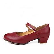 baratos Sapatilhas de Dança-Mulheres Sapatos de Dança Moderna Pele Salto Salto Personalizado Personalizável Sapatos de Dança Vermelho