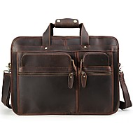 Men Bags All Seasons Cowhide Briefcase Pockets Zipper for Casual Dark Brown