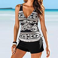 Women's Strap Black Triangle Boy Leg Tankini Swimwear - Tribal Print / Basic L XL XXL