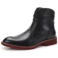 baratos Sapatos de Tamanho Pequeno-Homens sapatos Couro Envernizado Outono / Inverno Curta / Ankle / Coturnos Botas Botas Curtas / Ankle Preto / Vermelho / Festas & Noite