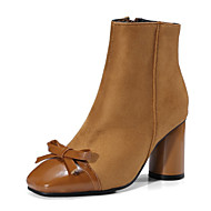 Feminino Sapatos Courino Inverno Conforto Inovador Botas Salto Grosso Ponta quadrada Botas Curtas / Ankle Laço Para Casamento Social