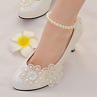 cheap Wedding Shoes-Women's Shoes Lace / Leatherette Spring / Fall Comfort Wedding Shoes Round Toe Rhinestone / Imitation Pearl / Appliques for Wedding /