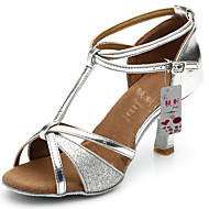 Women's Latin Silk Leatherette Sandal Indoor Customized Heel Gold Black Silver Brown Red Customizable