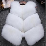 Feminino Colete Casual Simples Outono Inverno,Sólido Curto Pêlo de Raposa Decote V