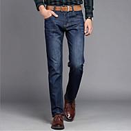 Herre Plusstørrelser Gade Elastisk Jeans Bukser, Højtaljede Bomuld Ensfarvet Alle årstider