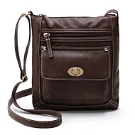 Women Bags PU Shoulder Bag Zipper for Casual All Seasons Black Red Dark Green Coffee Brown