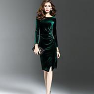 Pentru femei Ieșire Sexy Sofisticat Teacă Rochie-Culoare solidă Manșon Lung Rotund Lungime Genunchi Catifea Iarnă Toamnă Talie medie