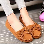Feminino Sapatos Couro Couro Ecológico Primavera Outono Conforto Mocassim Mocassins e Slip-Ons Sem Salto para Casual Preto Amarelo Marron