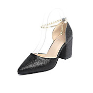 Women's Slippers & Flip-Flops Glitter PU Summer Walking Rhinestone Chunky Heel Gold Black Silver 2in-2 3/4in