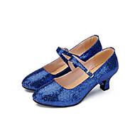 billige Moderne sko-Dame Moderne Glimtende Glitter Joggesko Innendørs Spenne Lav hæl Gull Svart Sølv Rød Blå