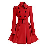 Mulheres Longo Casaco Diário Simples Casual Inverno Outono, Sólido Algodão Poliéster Colarinho de Camisa