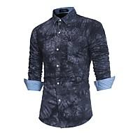 Masculino Camisa Social Para Noite Casual Simples Moda de Rua Punk & Góticas Outono Inverno,Estampado Algodão Poliéster Colarinho de