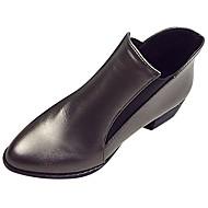 Feminino Sapatos Couro Ecológico Inverno Curta/Ankle Botas Dedo Apontado Botas Curtas / Ankle Para Casual Preto Prata
