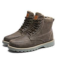 abordables -Homme Chaussures Cuir Automne Hiver Confort Bottes de neige Doublure fluff Bottes Lacet Pour Décontracté Noir Gris Vert Véronèse