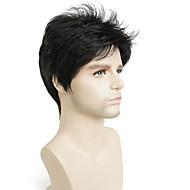 Sintetičke perike Ravan kroj Gustoća Capless Muškarci Crna Celebrity parabola Prirodna perika Kratko Sintentička kosa