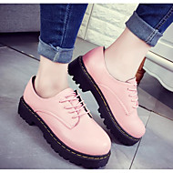 Women's Shoes PU Spring Fall Comfort Oxfords For Casual Blushing Pink Black White