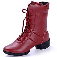 baratos Sapatilhas de Dança-Mulheres Botas de Dança Couro Botas Salto Robusto Sapatos de Dança Preto / Vermelho / Espetáculo