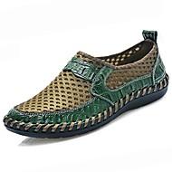 baratos Sapatos Masculinos-Homens Tule / Couro Ecológico Primavera / Outono Conforto Mocassins e Slip-Ons Marron / Azul / Verde Escuro