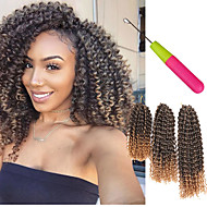 Twist Braids Hair Braid Afro Jerry Curl 3pcs/pack Curly Weave Crochet Curly Jamaican Bounce Hair Synthetic Hair Black/Burgundy Black/Medium Auburn