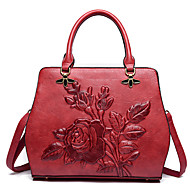 Women Bags PU Shoulder Bag Zipper for Casual All Seasons Red Dark Green Dark Brown