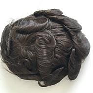 pansy mono dantel toupee 6x8 indian insan saç sistemleri yerine mono toupee erkek için orta kahverengi renk