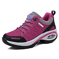 cheap Women's Athletic Shoes-Women's Shoes Leatherette Spring / Fall Comfort Athletic Shoes Walking Shoes Flat Heel Round Toe Lace-up for Purple / Fuchsia / Dark Grey