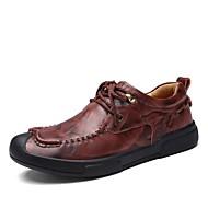 Masculino sapatos Pele Outono Conforto Oxfords Para Casual Preto Marron Vinho