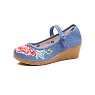 cheap Women's Flats-Women's Shoes Fabric Spring Fall Comfort Novelty Flats Pointed Toe Appliques Buckle for Party & Evening Outdoor Black Red Blue