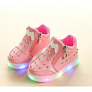 Girls' Shoes Leatherette Fall Winter Comfort Sneakers For Casual Blushing Pink Red Black White