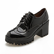 お買い得  レディースオックスフォードシューズ-女性用 靴 PUレザー 冬 秋 コンバットブーツ オックスフォードシューズ ラウンドトウ ブーティー/アンクルブーツ 編み上げ のために カジュアル ブラック