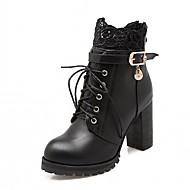 preiswerte -Damen Schuhe Kunstleder PU Herbst Winter Komfort Neuheit Stiefeletten Stiefel Blockabsatz Runde Zehe Booties / Stiefeletten Schnürsenkel