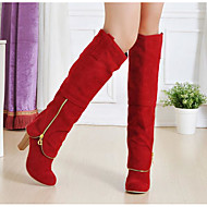 Women's Shoes Nubuck leather Fall Winter Fashion Boots Boots Chunky Heel Knee High Boots Mid-Calf Boots For Casual Red Gray Black
