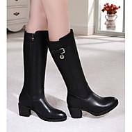 Dame Sko Nappa Lær PU Vinter Trendy støvler Slouch Støvler Støvler Tykk hæl Lår-høye støvler Til Avslappet Svart