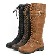 Women's Shoes PU Fall Winter Comfort Novelty Fashion Boots Boots Flat Heel Round Toe Mid-Calf Boots Lace-up For Office & Career Dress