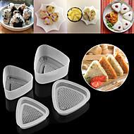 billige Bakeredskap-4pcs kjøkken bento sushi onigiri mold mat press triangulær form ris ball maker gjennomsiktig