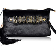 Women Bags All Seasons Other Leather Type Shoulder Bag Zipper for Casual Wine Black