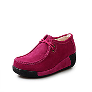 cheap Women's Oxfords-Women's Shoes Suede Fall / Winter Fluff Lining / Comfort Oxfords Round Toe Lace-up for Outdoor Fuchsia / Coffee / Blue