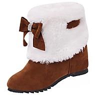 abordables -Femme Chaussures Cachemire Hiver Bottes de neige Bottes Bout rond Noeud Pour Décontracté Noir Chameau Bourgogne