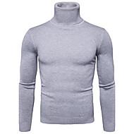 Heren Dagelijks Effen Lange mouw Normaal Pullover, Coltrui Herfst / Winter Marineblauw / Geel / Lichtgrijs L / XL / XXL