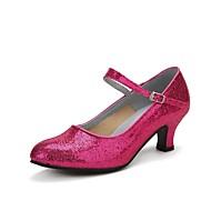 billige Moderne sko-Dame Moderne sko Glimtende Glitter / Paljett Høye hæler Gummi / Spenne Kubansk hæl Dansesko Rød / Blå / Rosa / Profesjonell