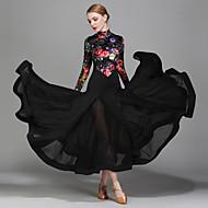 Für den Ballsaal Kleider Damen Leistung Chiffon - Satin Samt Eis-Seide Muster / Druck Langarm Normal Kleid