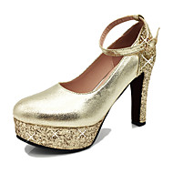 cheap Wedding Shoes-Women's Shoes PU Spring Summer Heels Chunky Heel Round Toe Crystal Sequin Buckle for Wedding Casual Party & Evening Gold Silver