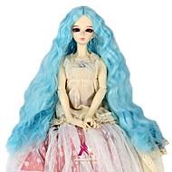Naisten Synteettiset peruukit Suojuksettomat Pitkä Kinky Curly Taivaan sininen Doll Wig Rooliasu peruukki