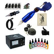 billige Tatoveringssett for nybegynnere-Tattoo Machine Startkit 1 x roterende tatoveringsmaskin til lining og skyggelegging 20 W 5 x engangsgrep 5 stk tattoo Nåler
