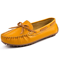 Women's Shoes Nappa Leather Fall Winter Moccasin Boat Shoes For Casual Dress Yellow Orange Black White