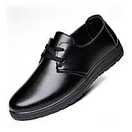 Masculino sapatos Couro Ecológico Outono Inverno Conforto Oxfords Cadarço Para Casual Preto Marron